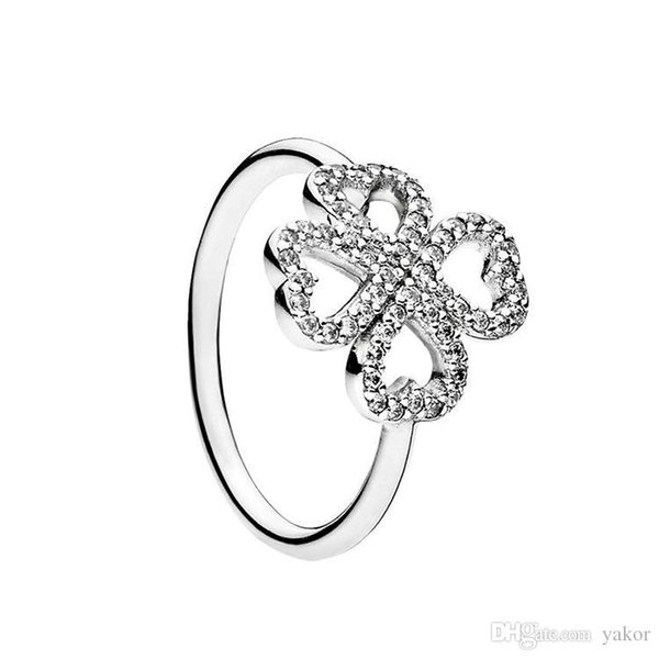 Şans yonca Yüzükler Orijinal Kutusu Pandora 925 Ayar Gümüş CZ Elmas Kadınlar için set Düğün RING Moda aksesuarları