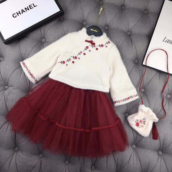 Girls skirts sets kids designer clothing Chinese style embroidery tops + mesh skirt 2pcs autumn new flower pattern sets