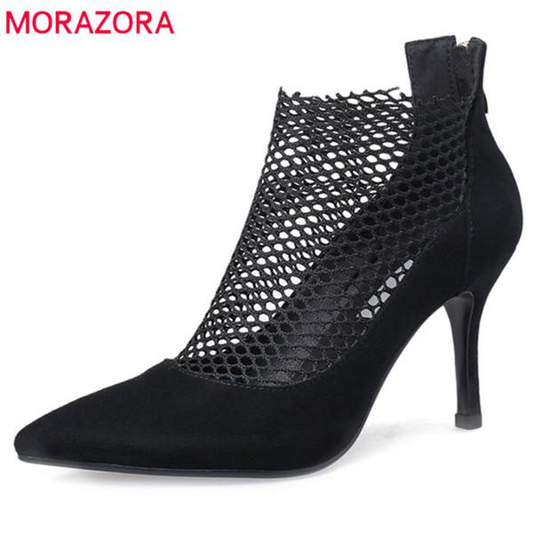 MORAZORA 2019 nuove donne di arrivo stivaletti di alta qualità stivali in pelle scamosciata estate scava fuori scarpe da sposa partito donna