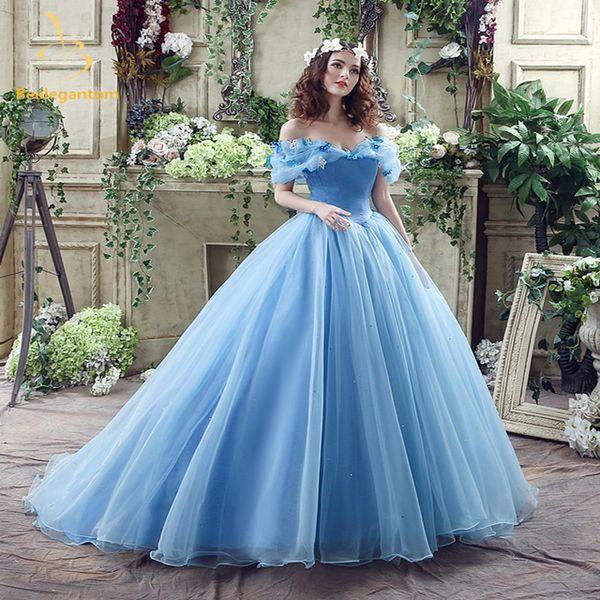 Himmelblau Quinceanera Kleider Prinzessin Schulterfrei Ballkleider Ballkleid Organza Puffy Flower Kleid für besondere Anlässe Elegant Sweet 15
