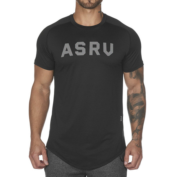 2019 New Men's Summer Round Neck Solid Quick-drying Sports Fitness T Shirt ASRU Print Short-sleeved Male Tops T-shirt