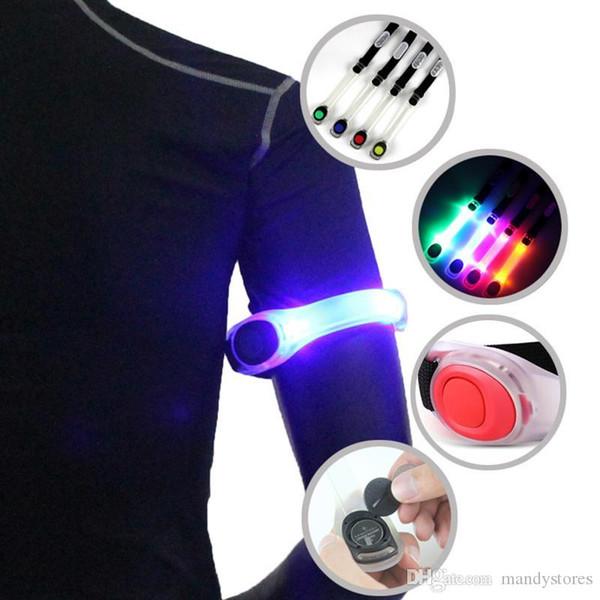 Wholesale-Hot Running Sports Arm Band LED Luminous Bracelet Night Run Lights Safe Cycling Equipment Leggings Reflective Wristbands T1226