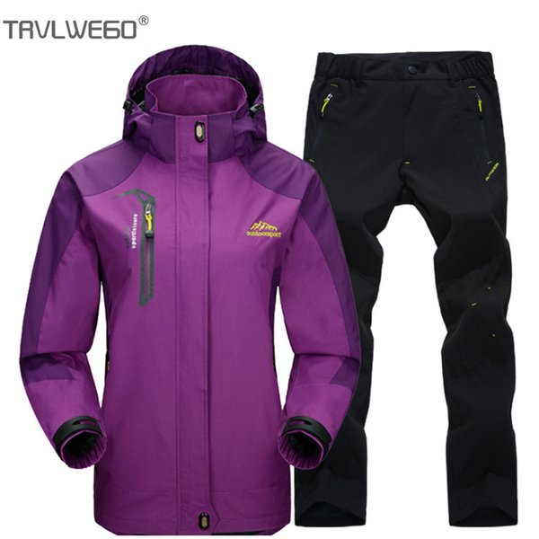 trvlwego spring and autumn outdoor hiking camping jacket pants women's suit windbreak trekking single coat trousers m-4xl