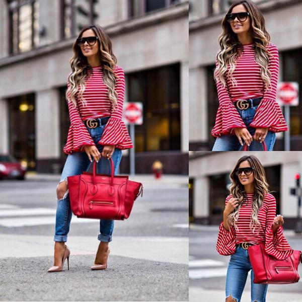Fashion-2019 Kadınlar Vintage Moda Beyaz Ve Kırmızı Çizgili Gömlek Bluzlar Pamuk Blend Tops retro roupas Parlama Kol femininas ...