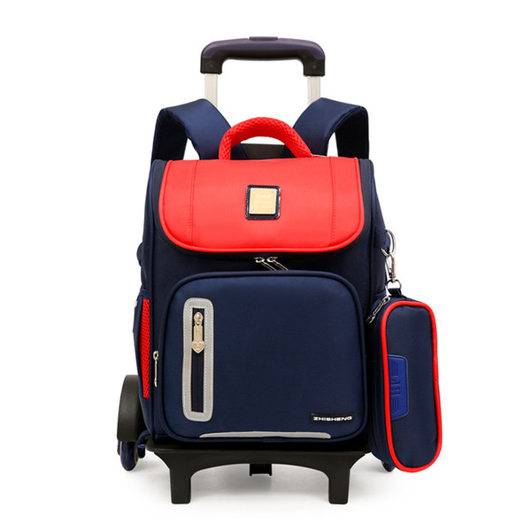 Upgrade version children backpack school bags 2/6 wheels Detachable trolley school bags for girls boys waterproof kids book bag