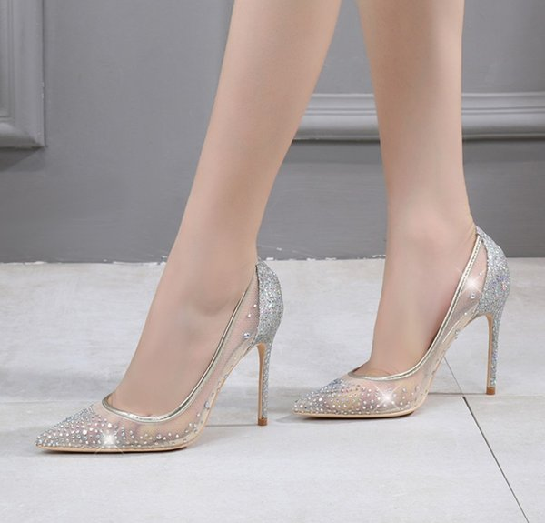 Free shipping Fashion womens Nude mesh crystal strass point toe wedding shoes. high heels thin heeled shoes pumps genuine leather 100mm 80mm
