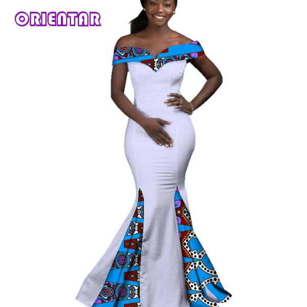 2018 African Dresses for Women Dashiki Batik Wax Printing Sexy Slash Neck Party Dress Lady Grace Long Evening Dress WY2860
