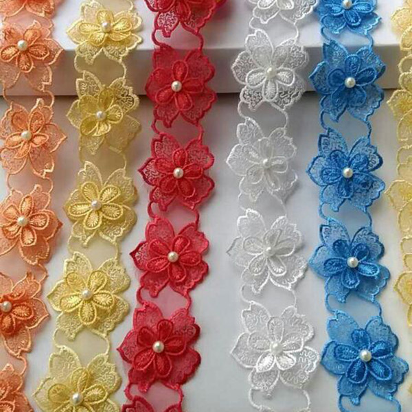 top popular 15362 Pearl Flower Soluble Organza Lace Trim Knitting Wedding Embroidered DIY Handmade Patchwork Ribbon Sewing Supplies Craft 2021