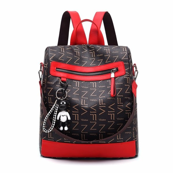 2018 new retro fashion zipper ladies backpack leather high quality school bag shoulder bag for youth bags bear #172864
