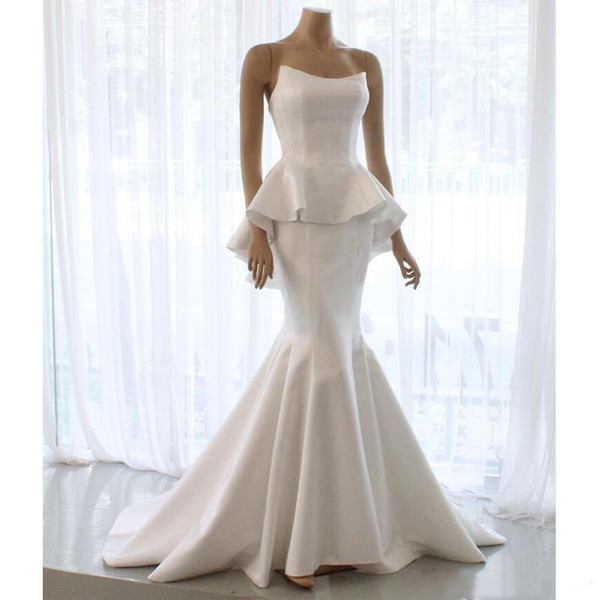 Gorgeous Satin Mermaid 2019 Wedding Dresses Peplum Strapless Neck Sweep Train Country Style Bridal Gowns Cheap Vestidoe De Noiva