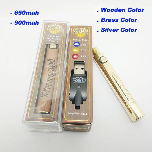 Latão madeira Knuckles Vape Pen Bateria com carregador USB - 650mAh 900mAh ouro Cor Prata 510 Fio Tensão Pré-aquecimento ajustável Bateria