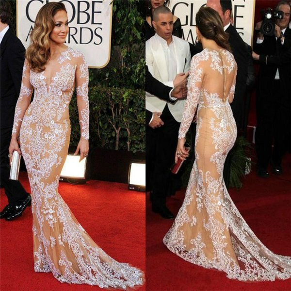 top popular Oscar Zuhair Murad Jennifer Lopez Lace Long Sleeve Celebrity Dress Beauty Mermaid Red Carpet Dresses Evening Dresses 2019