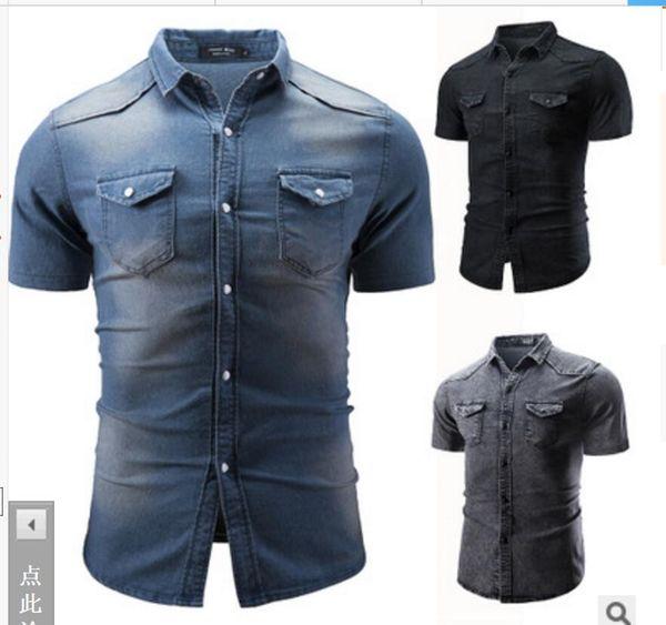 2019 NEW Men's Short sleeve shirts fashion T-Shirts M-3XL Tees Polos jackets coat Double-pocket washed jeans shirt costume Nightclub