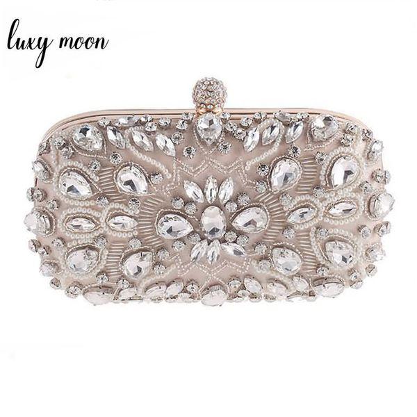 Luxy Moon Evening Bags Diamond Rhinestone Pearls Beaded Wedding Clutch Women's Purse Handbags Wallets Evening Clutch Bag Bolsa J190517