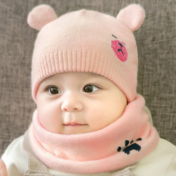 Baby Winter Caps Schal passt warme gestrickte Beanie Mütze Cute Cartoon Bear Beanie NFE99