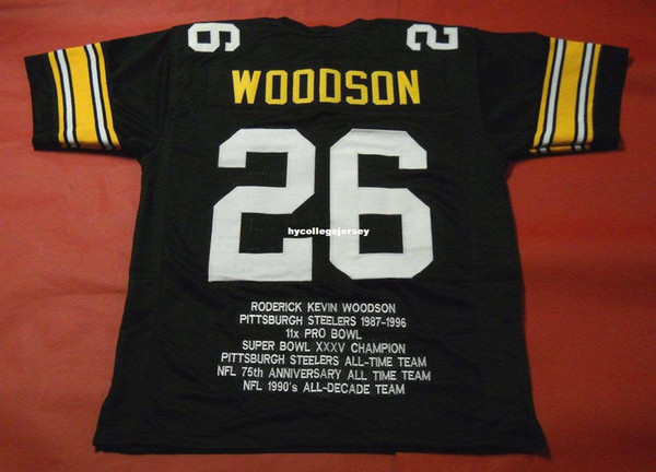 Rétro pas cher # 26 ROD WOODSON CUSTOM STAT MITCHELL NESS maillot noir Mens Couture haut de gamme Taille S-5XL Football Jerseys College NCAA