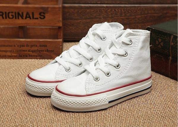 Taille de l'UE 24-34 Nouvelle marque enfants chaussures de toile de mode haute - chaussures basses garçons et filles sport toile chaussures de sport cadeau de Noël