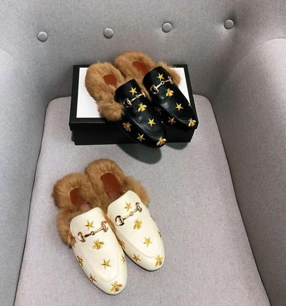 Señoras de la moda de piel al aire libre Zapatillas de mujer Zapatos Planos Mujer Calientes Zapatos de mulas Diapositivas Zapatillas de Mujer Casual Chanclas Mujer