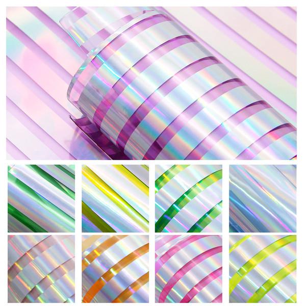 10 Teile / satz 20 * 34 cm Streifen Hologramm Transparent PVC Kunstleder Patchwork Haarschleife Handtasche Schuhe DIY 85929