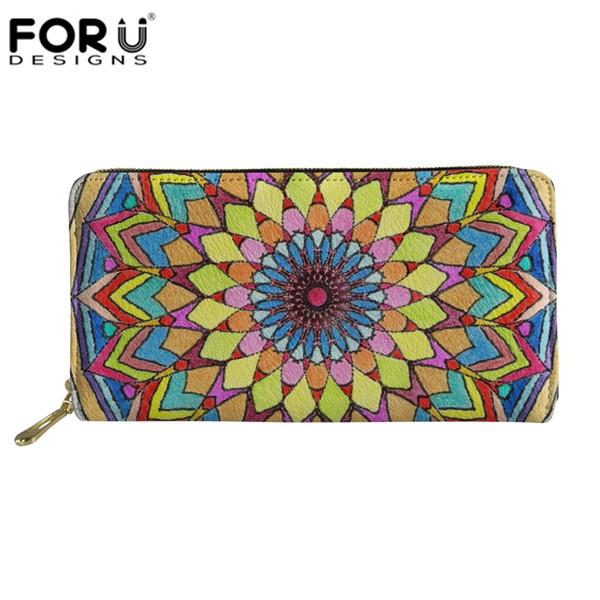 FORUDESIGNS Mandala Flower Prints Women Wallet Phone Bag Hamsa Fatima Hand Wallets Designer Purse Zipper Long Card Holder Clutch
