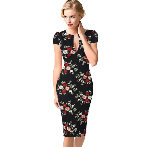 Vfemage Womens Sexy Elegant Autumn Floral Flower Lace Vintage Tunic Slim Casual Party Fitted Sheath Pencil Bodycon Dress 1040 Y19051102