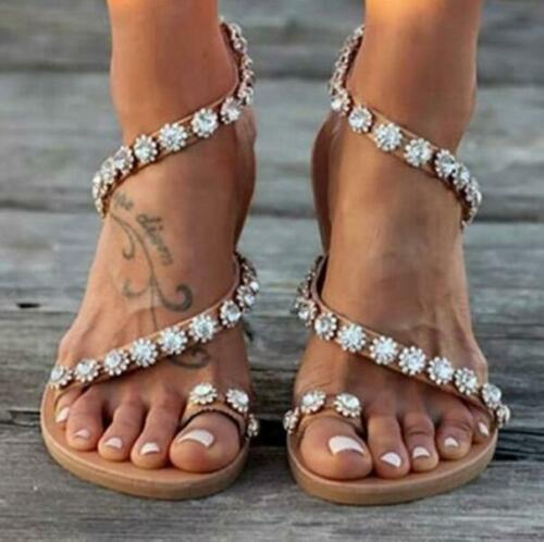 mengmeng1883 / Fashion Women Summer Pearl Beaded Flats Sandal Flip Flop Open Toe Fashion Casual Shoe Anti Slip