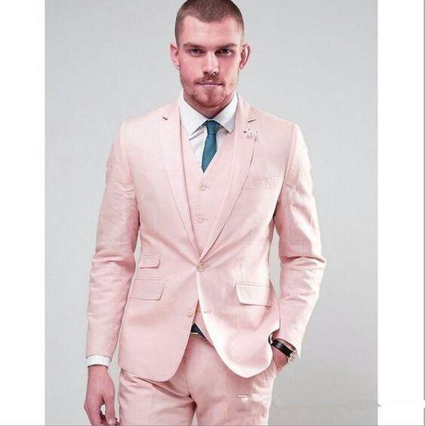 Yüksek Kaliteli Iki Düğmeler Pembe Damat Smokin Çentik Yaka Groomsmen İyi Adam Erkek Düğün Takımları Suits (Ceket + Pantolon + Yelek + Kravat) NO: 976