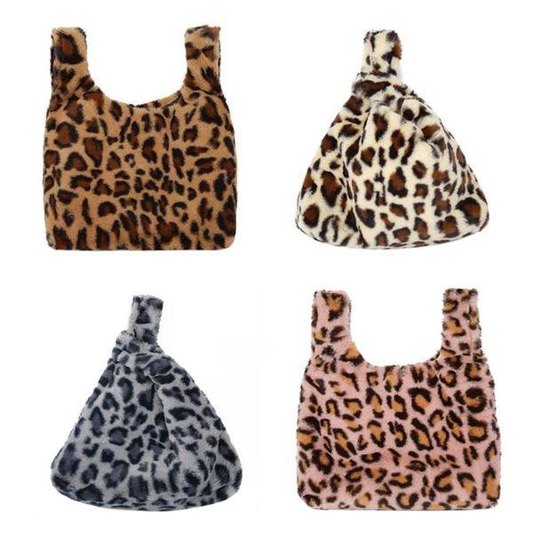Women Leopard Print Shoulder Handbags Faux Fur Casual Travel Bags Purse