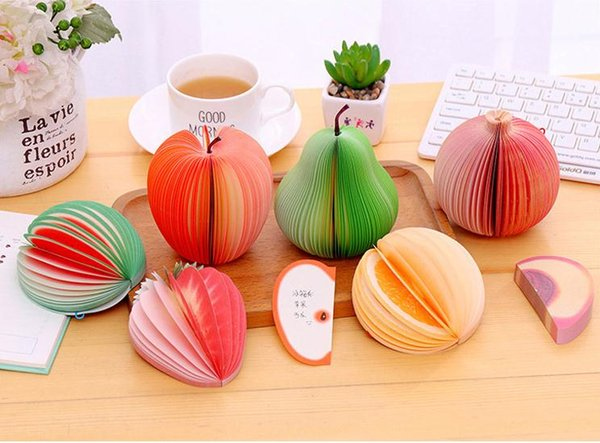 Unique Creative Apple Shaped cute 3D Apple pear Paper Memo Pad Sticky Notes fruit notebook, note pad memo pad SN1936