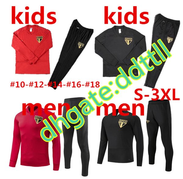 New 2019 Training suit Tracksuit Soccer jersey Sao Paulo 18 19 man and kids Pato Hudson Survetement football kits