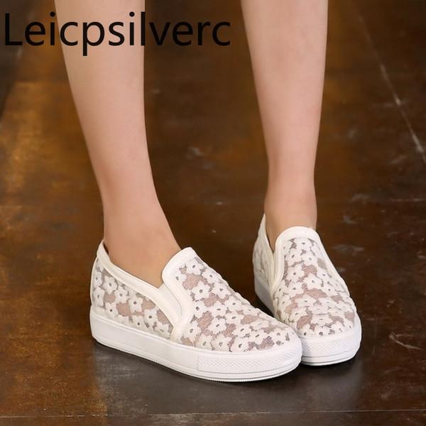 Pompaları İlkbahar ve sonbahar Yeni Rahat Yuvarlak kafa Dantel Örgü Düşük topuklu Artan İç bayan ayakkabıları artı boyutu 33-44