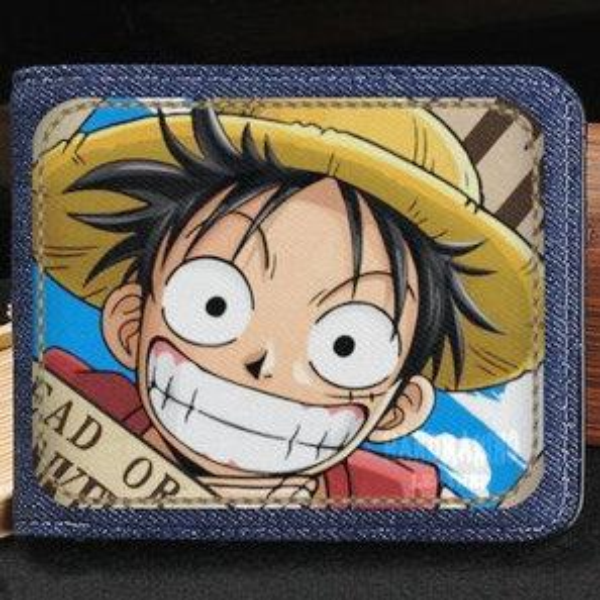Monkey D Luffy wallet One piece purse Straw hat short cash note case Money notecase Leather jean burse bag Card holders