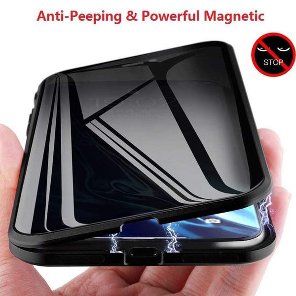 Prevenir Anti pio Telefone Magnetic Caso de privacidade clara dupla face de vidro temperado do metal Bumper Proteção capa para o iPhone 11 XS MAX XR X