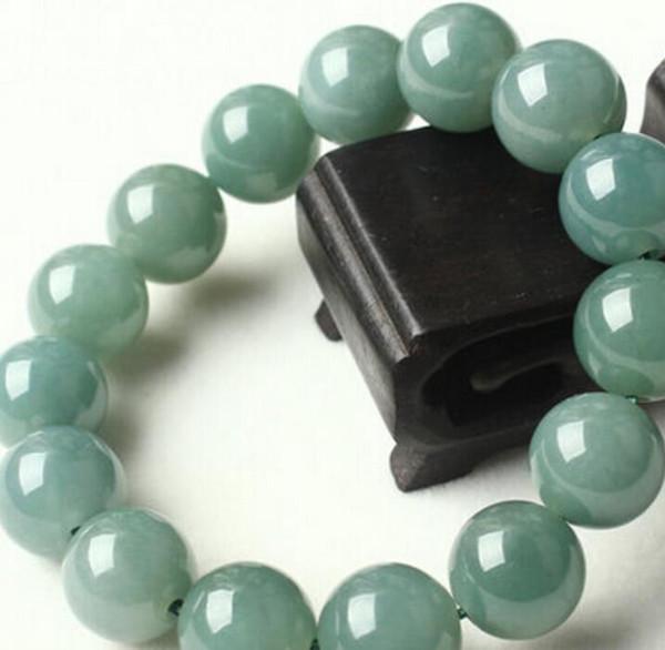 braceletNaturel huile de cire de glace à la maison et un bracelet vert bracelet de perles sur 13mm