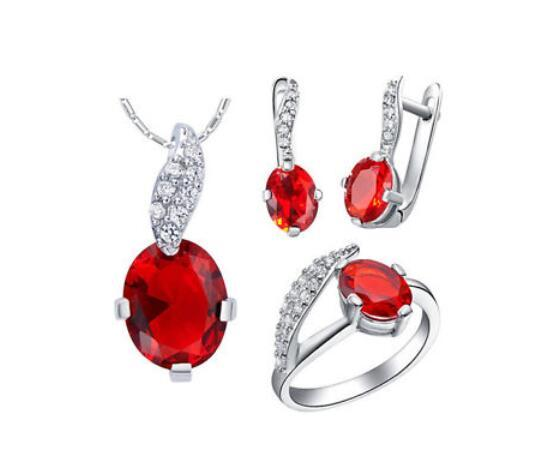 wholesal Zircon Gem Noble Rich Fashion Leaves Crystal Pendant Ring Earrings Necklace Jewelry Set pendant Earrings Necklace