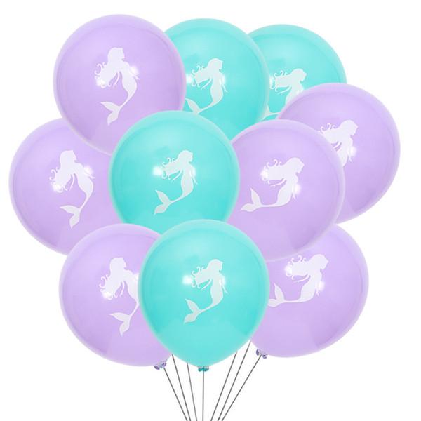 2 Cores Sereia Balão De Látex 10 Polegada Decoração de Casamento Festa de Aniversário Sereia Do Dia Das Bruxas Balão 10 Peças / Saco L268