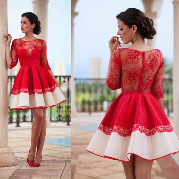 2018 Red A Line Short Lace Prom Dresses Sheer 1/2 Long Sleeves Illusion Neck Homecoming Dresses Mini Party Dress Vestidos de fiesta