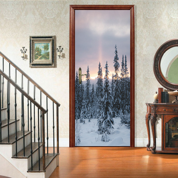 Creative 2Pcs/Set Snow scene Art Decor DIY Door Stickers Home Decoration Pattern for Waterproof Removable Wall Bedroom Vinyl Decal