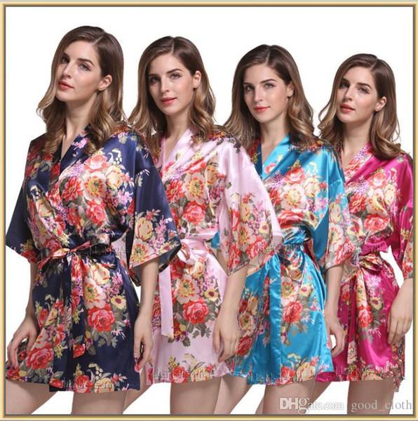 Floral Satin Brautjungfer Robe Hochzeitstag Robe Bridesmaid Geschenke Blumen-Druck-Kimono Dressing Bademantel für Frau 10pcs CNY210