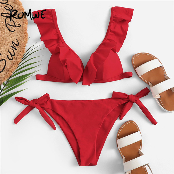 Romwe Sport Red Solid Ruffle Triangolo Plunge Neck Top con cravatta Side Bottoms Bikini Set donna Sexy Beach Costume da bagno da vacanza SH190706