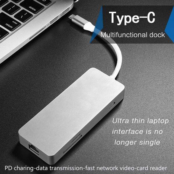 Tipo C Hub Adapter Per Spliter USB 3.0 di deviazione standard TF del lettore di schede 2K video HDMI rete RJ45 LAN Ethernet PD ricarica USB-C
