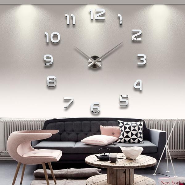 Nuevo reloj reloj de pared relojes del Reloj de DIY 3D acrílico Espejo pegatinas la decoración del hogar de la sala de cuarzo aguja grande del reloj de pared