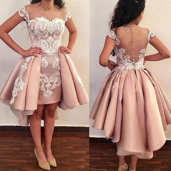 2019 Elegant Blush Pink Sheer Jewel Neck Cocktail Dresses Hi Low White Appliques Illusion Back Cover Button Formal Evening Party Gowns