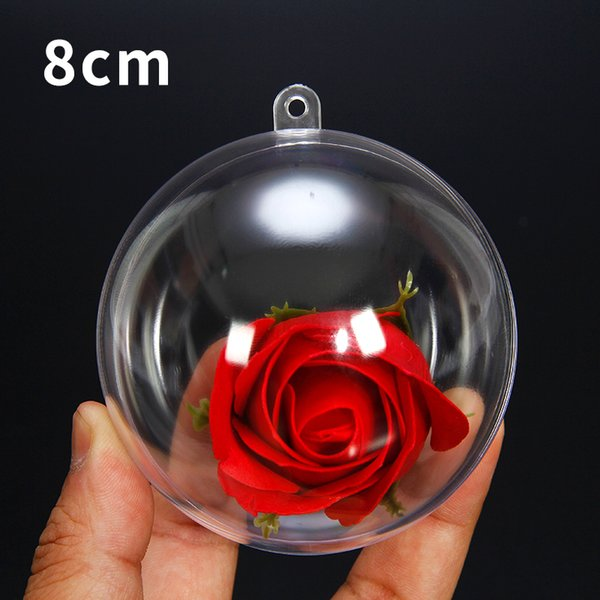 8cm Clear Christmas Tree Hanging Ball Ornaments Transparent Round Ball Baubles Festival Party Wedding Christmas Decorations Balls