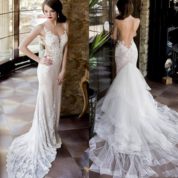 2019 Luxury Sexy Sheer Lace Wedding Dresses with Detachable Skirt Mermaid Backless Plunging Neckline Country Bridal Gowns