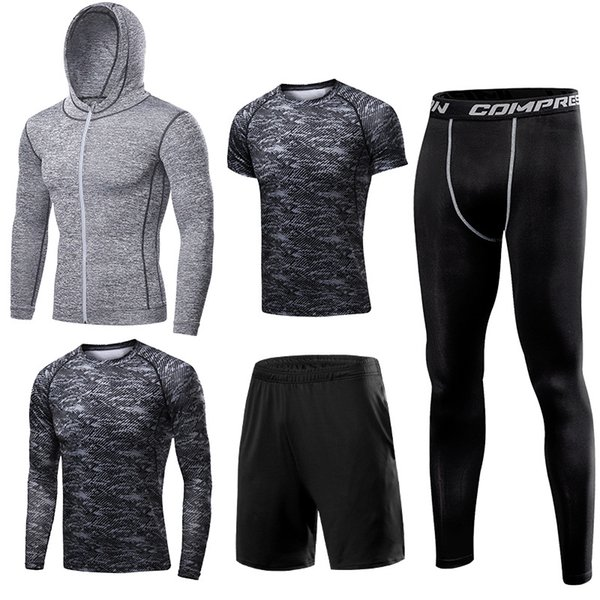 Outdoor Fitness Jogging Suits . Hoodie . T-shirt .Tights Pants Quick-drying, Breathable, Moisture Wicking Running Sports Jacket