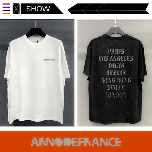 jeans amiri 19SS ARNODEFRANCE ADF Europa y América marca de marea de manga corta camiseta de lavado para hacer el diseñador suelta retro viejo