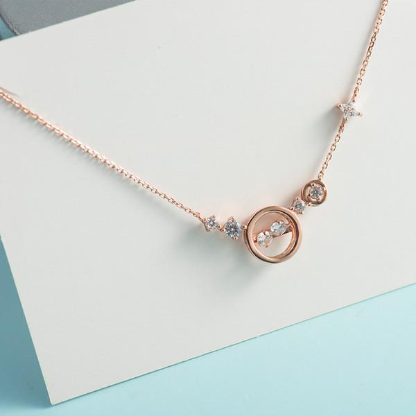 2019 Europa y los Estados Unidos Versión coreana popular de la moda Pure Silver Hollow Doble Diamante Soul Necklace