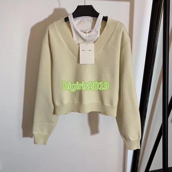 le donne di fascia alta ragazze breve maglia manica lunga camicia camicetta maglieria Milano Fashion pista Top Design di lusso pullover maglione patchwork v-collo