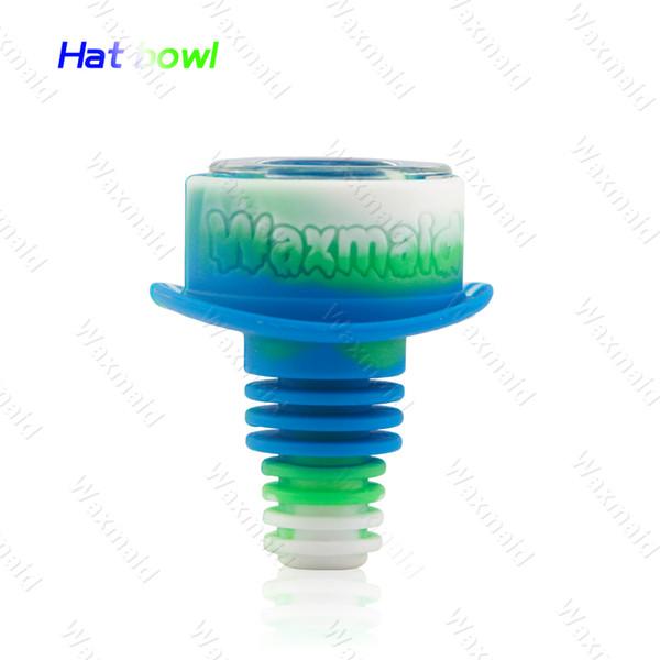 Sombrero recipiente de vidrio irrompible con la protección en forma de cuerpo de silicona para bongs de vidrio trajes de 14mm 18mm envío libre conjunta